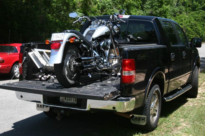 Motorcycle In Short Bed Truck