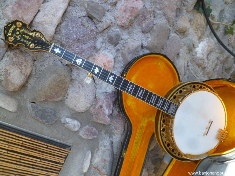 vintage fender concertone custom 5 string banjo carved and engraved used banjo for sale at. Black Bedroom Furniture Sets. Home Design Ideas