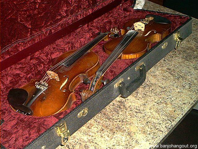 sold arched top double fiddle case banjo hangout