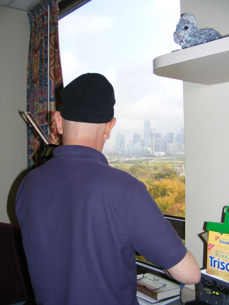 Nov 2011 - Playing in hospital room looking into the Dallas skyline